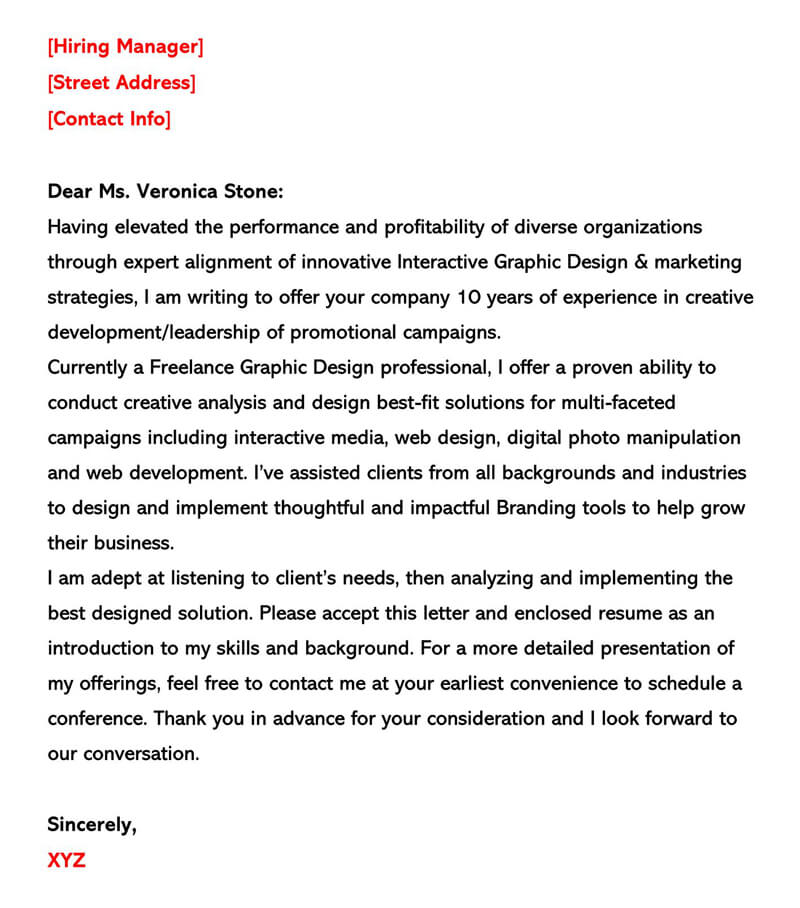 Marketing and Graphic Design Cover Letter