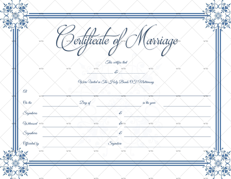Blue Border Marriage Certificate