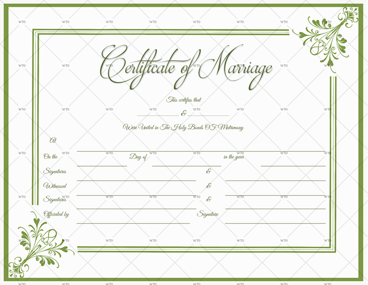 Marriage Certificate Template online