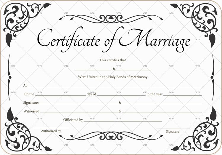 decorative marriage certificate