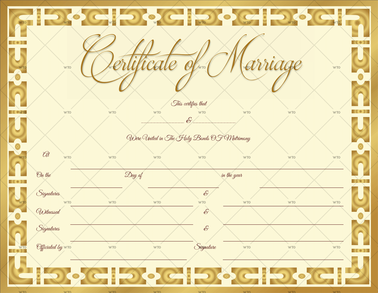 Marriage Certificate Template editable