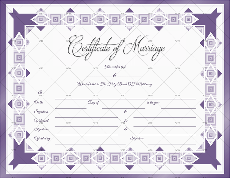 Marriage Certificate formt in word