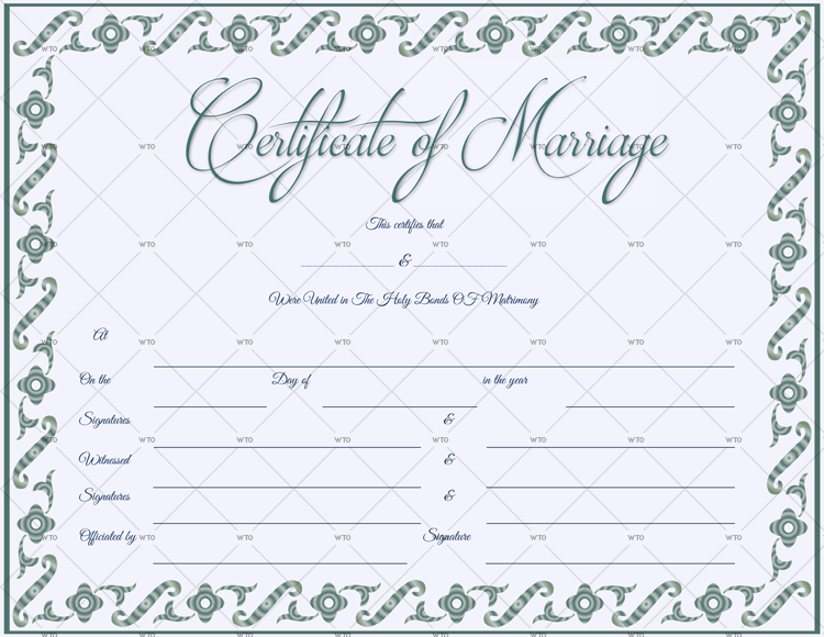 Marriage Certificate doc format