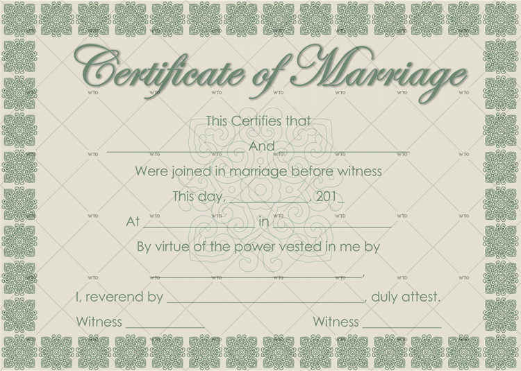 register marriage certificate Template