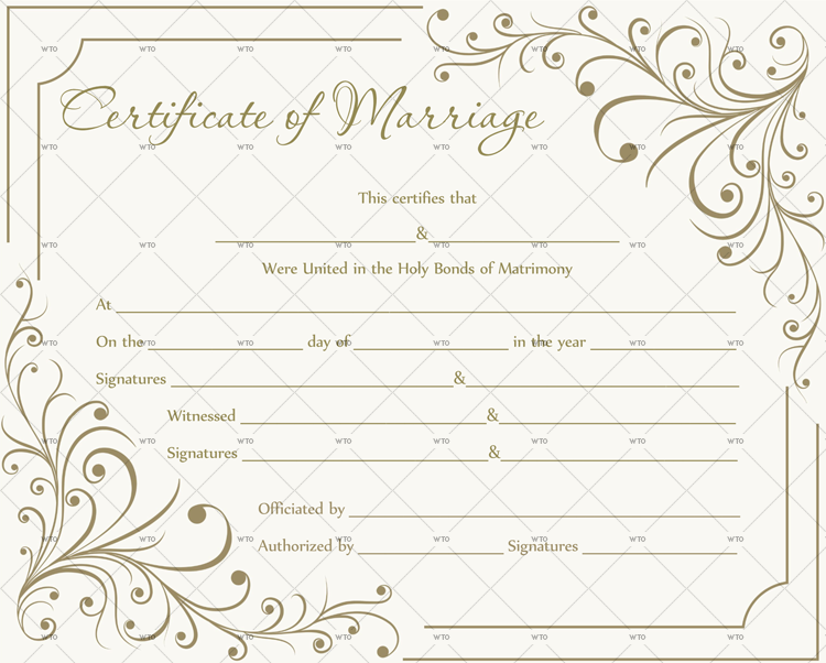 This is a picture of Massif Marriage Certificate Template Word