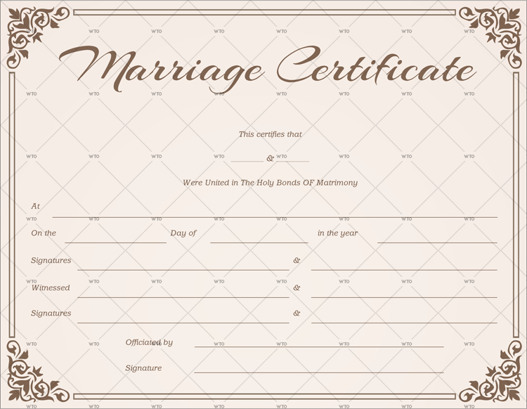 marriage certificate records template