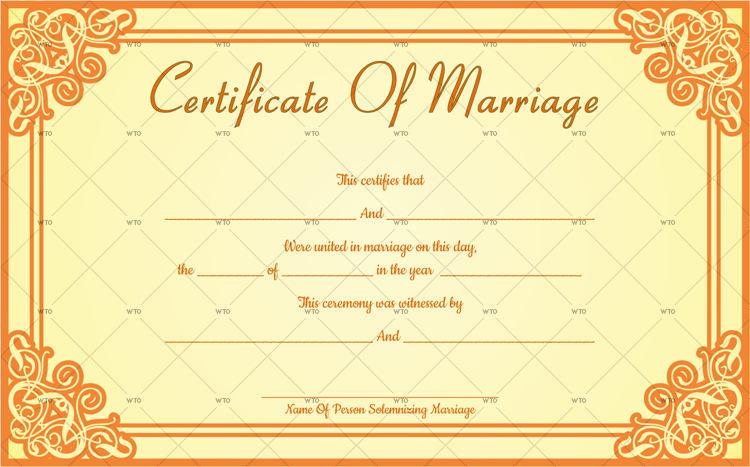 decorative marriage certificate Template