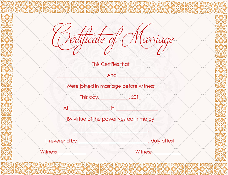 marriage certificate frame Template