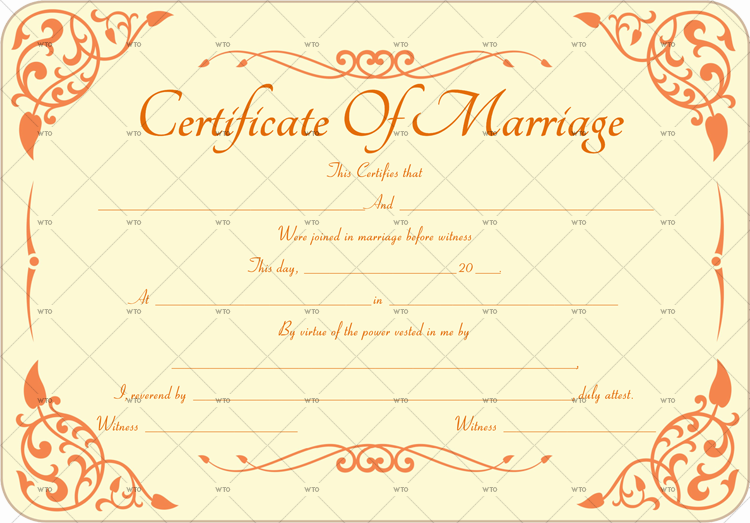 marriage license certificate Template