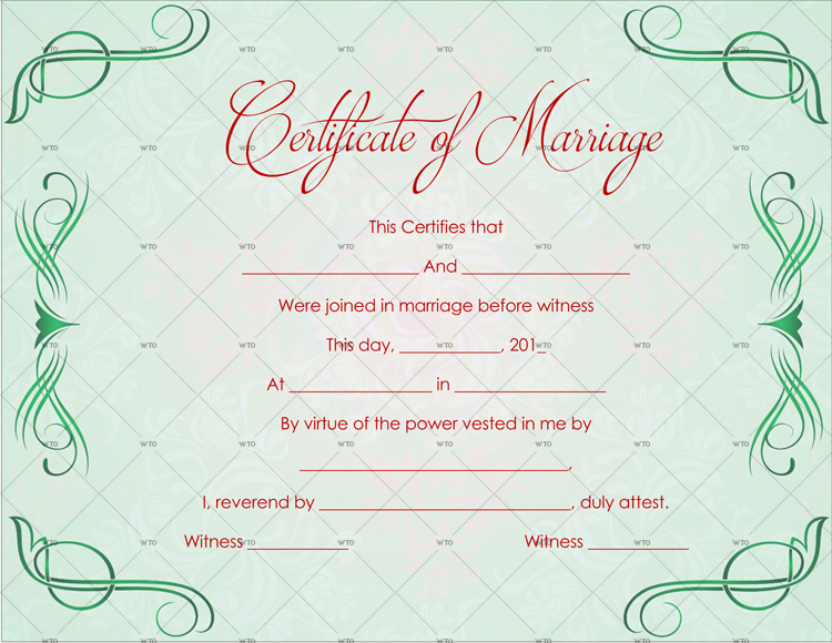 marriage certificate format in english