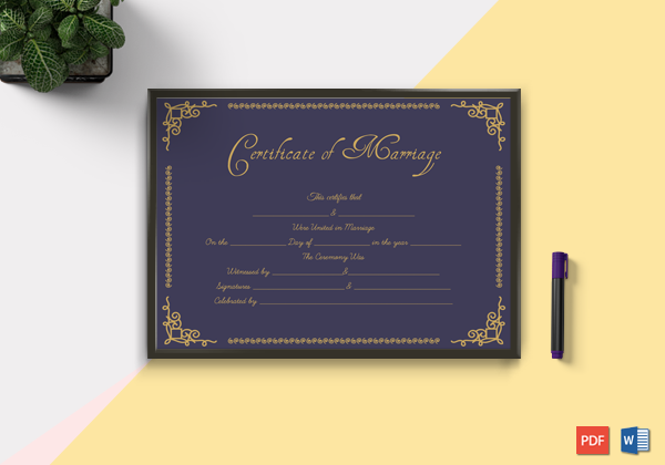 Marriage certificate templates Word