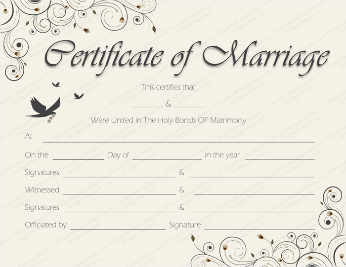 Printable Marriage Certificate Templates - 10+ Editable Designs ...