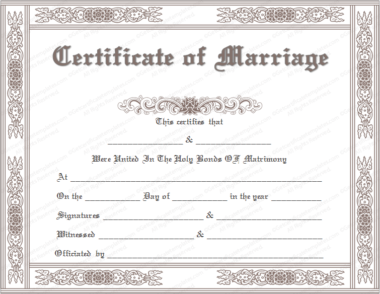 How To Get A Marriage License With Pictures: Printable Marriage Certificate Templates