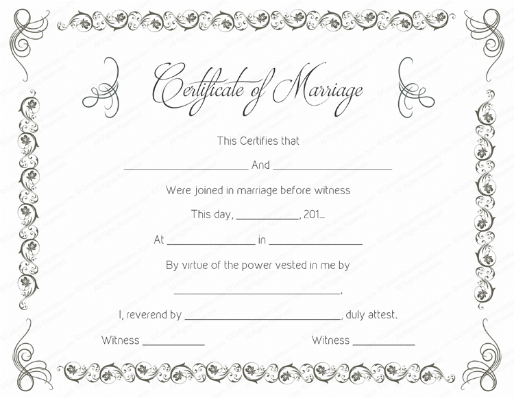 printable marriage certificate templates