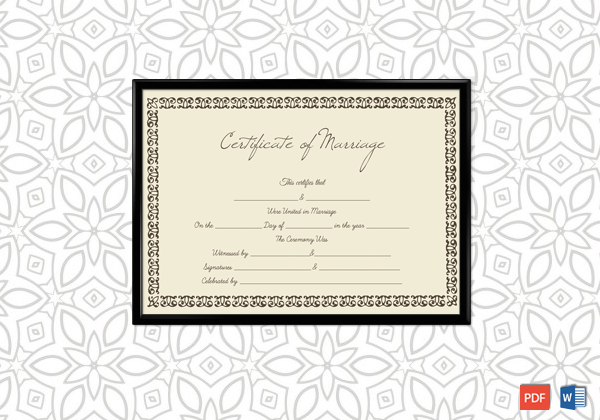 Marriage Certificate (Traditional Design) (Word)