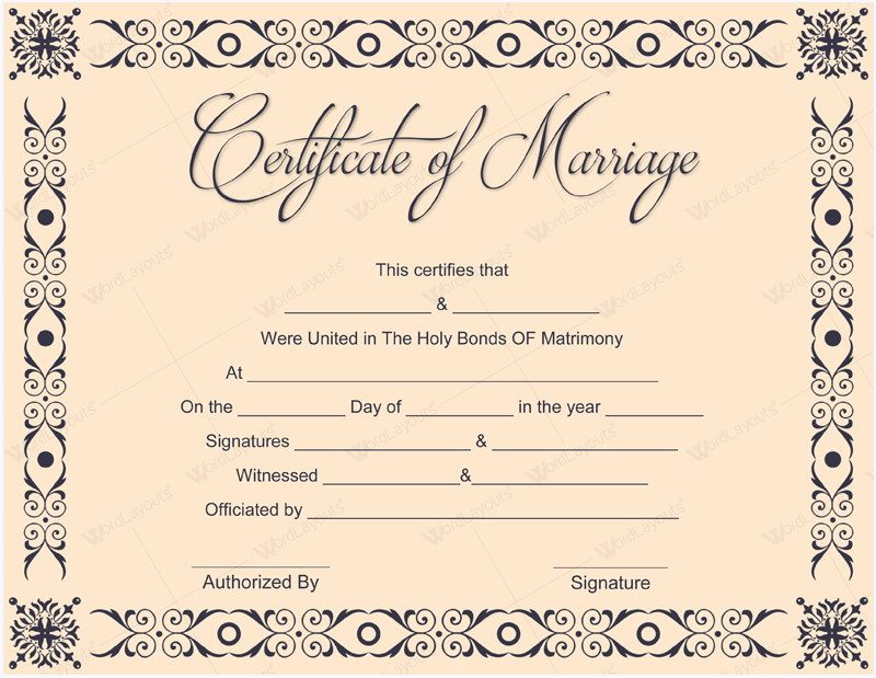Printable Marriage Certificate Templates - 10+ Editable ...