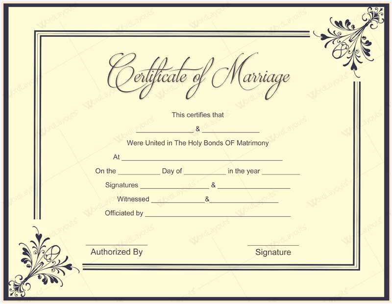 marriage certificate format royal design
