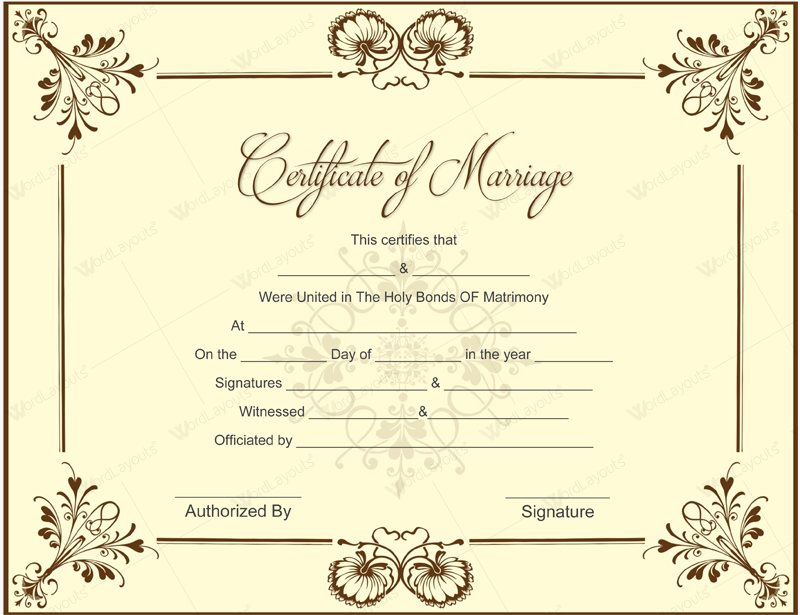 Printable marriage certificate templates 10 editable designs printable marriage certificate format yelopaper Images
