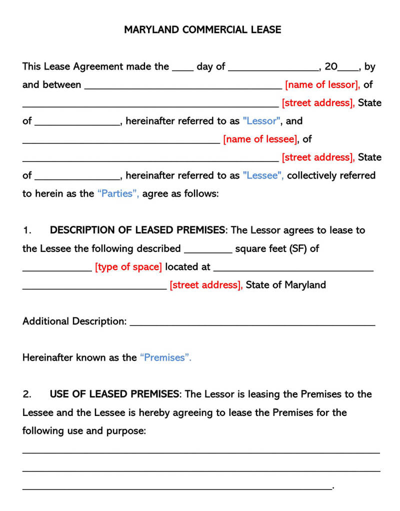 Maryland Commercial Rental Lease Agreement