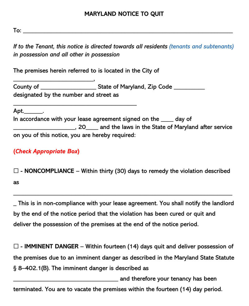Maryland Eviction Notice Form