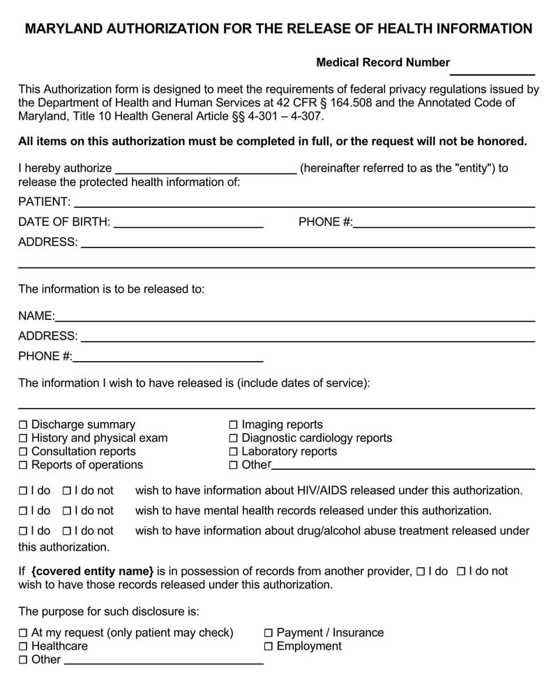Maryland HIPAA Medical Authorization Release Form