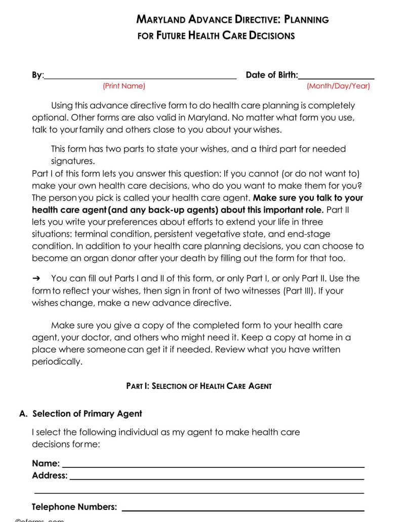 Maryland Medical POA Form