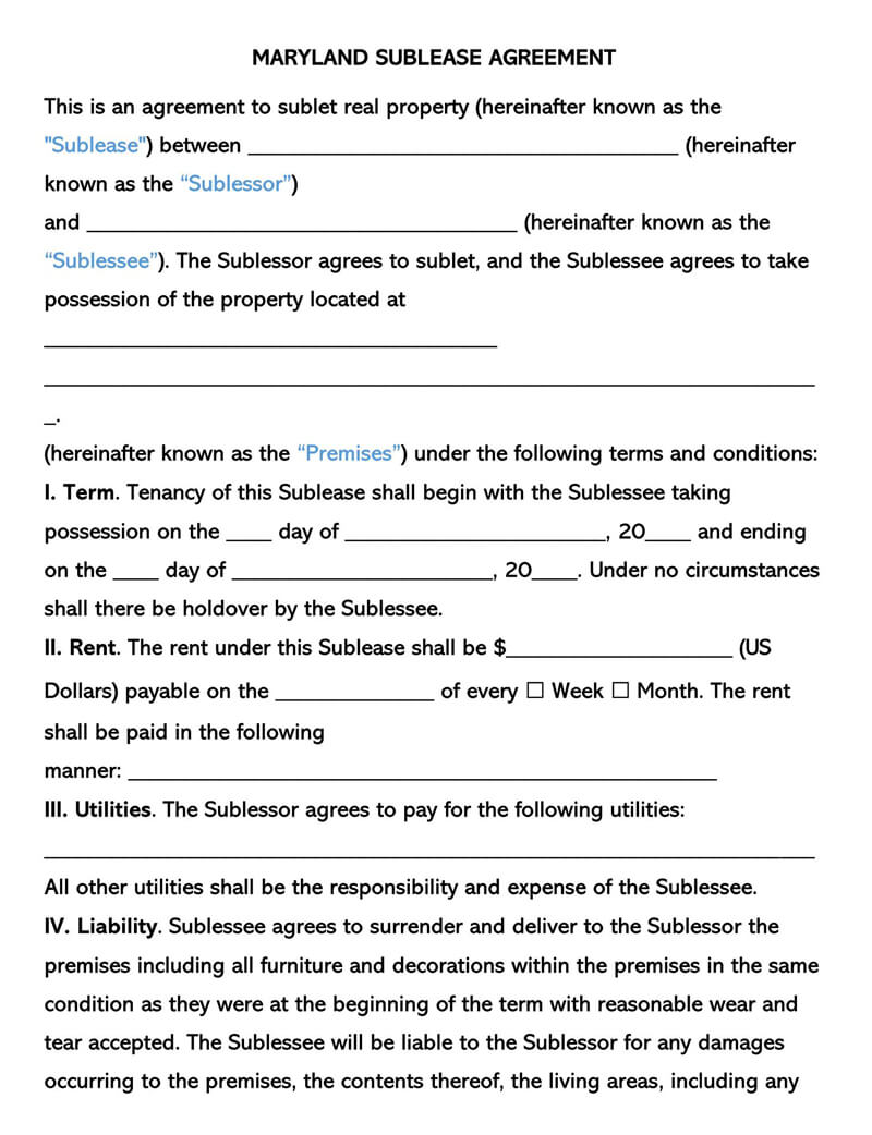 Maryland SubLease Agreement Template