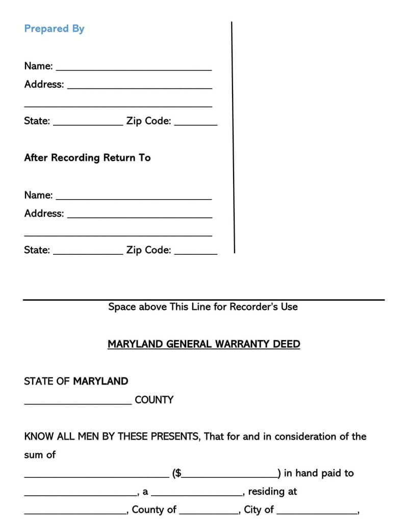 Maryland Warranty Deed Form