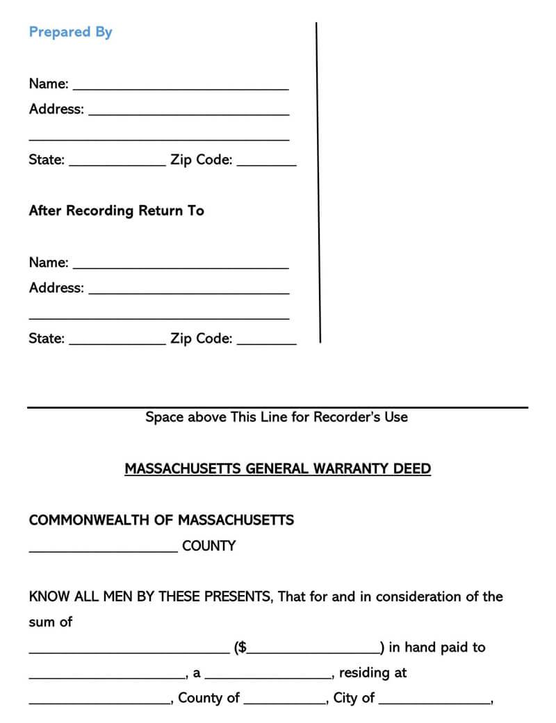 Massachusetts Warranty Deed Form
