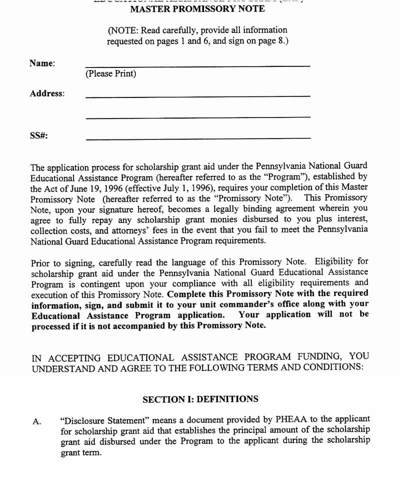 Master Promissory Note Template