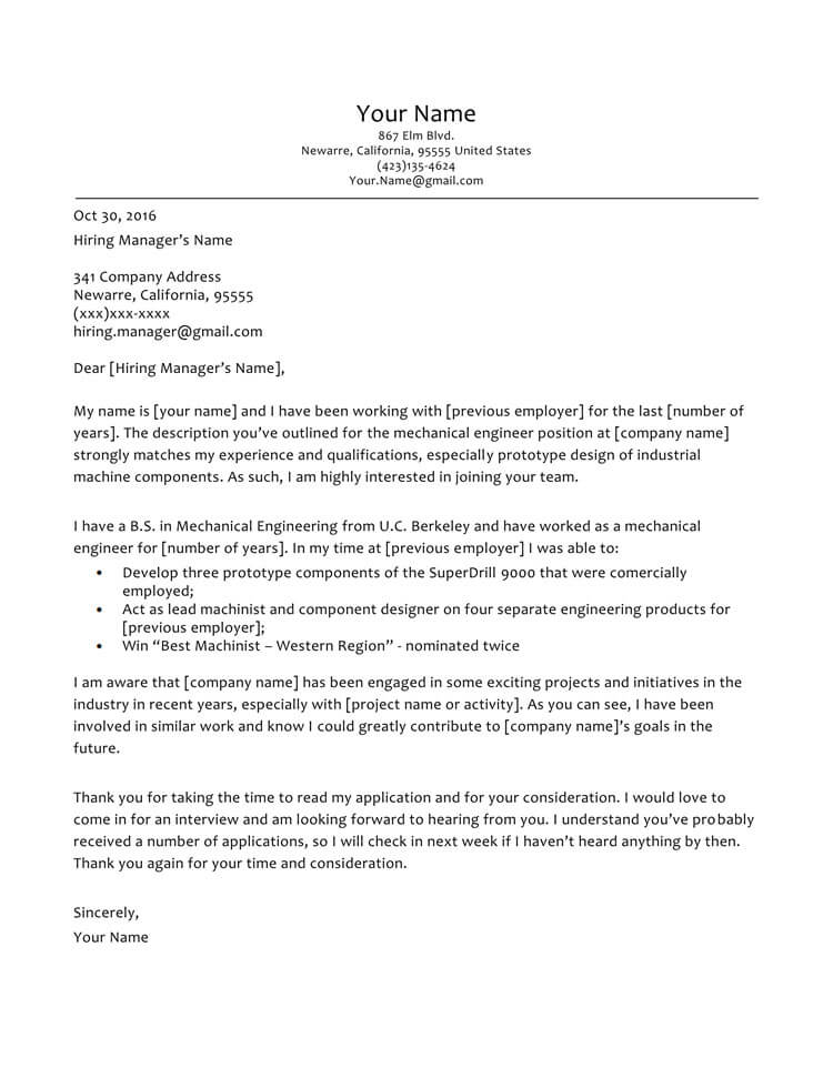 Mechanical Engineer Cover Letter Sample