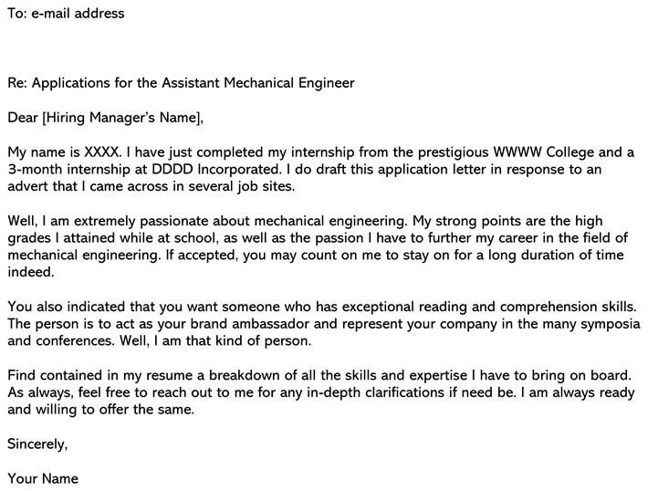 Mechanical Engineering Cover Letter Sample Amp Email Example