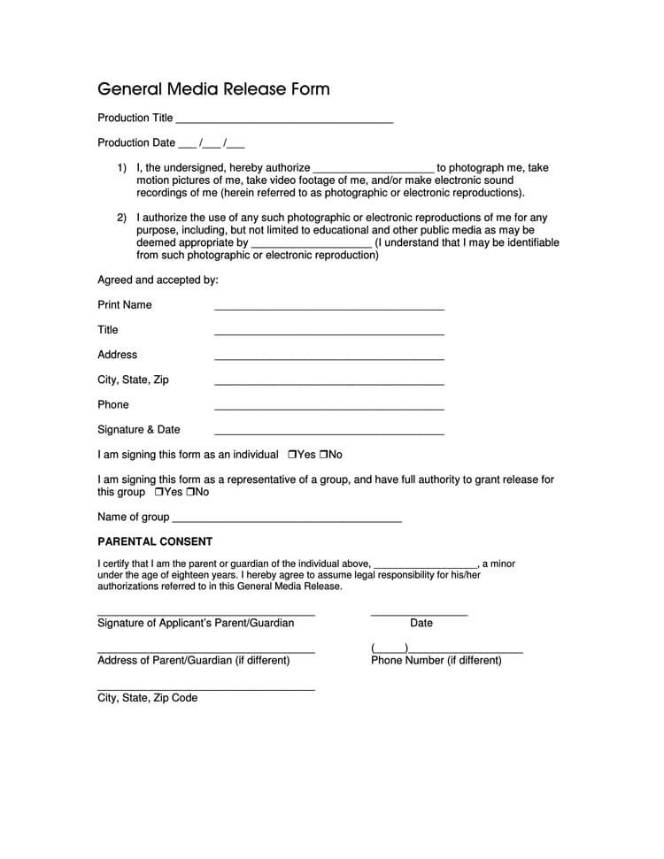 Media Release Form Example