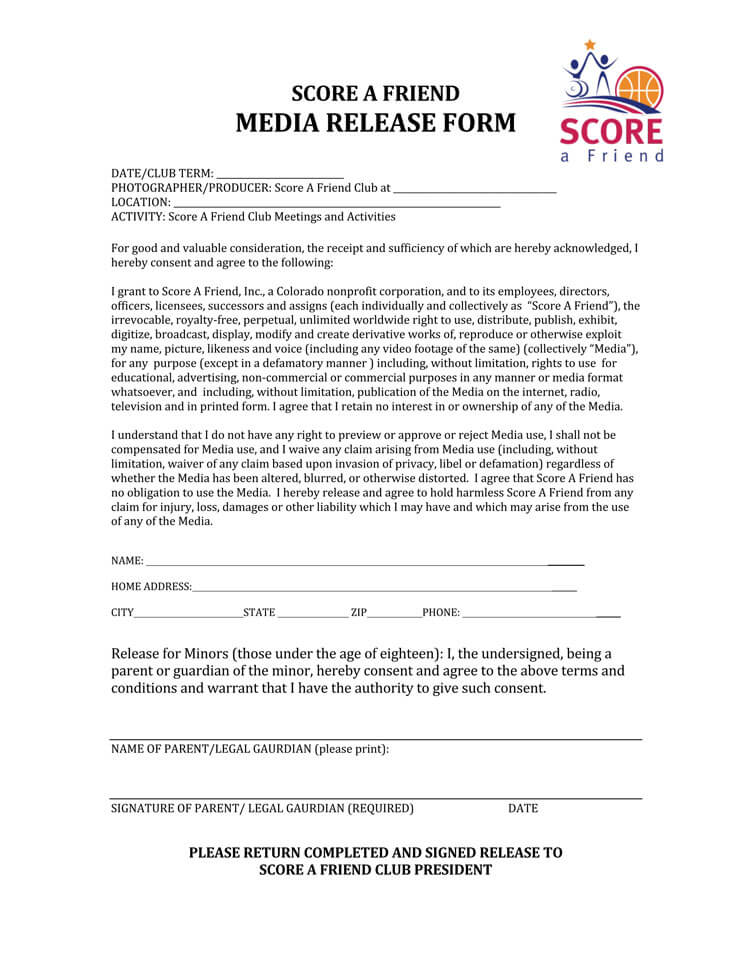 Media Release Form Non Profit