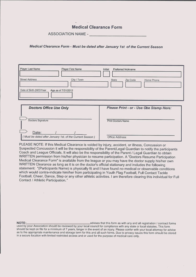 Medical Clearance Form Template