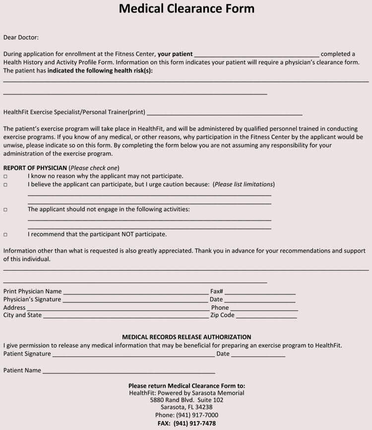 15  sample medical clearance forms  dental  surgery