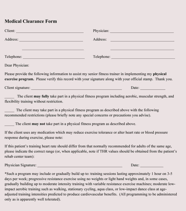 Medical Clearance Letter Template
