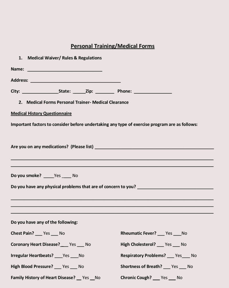 Medical waiver Form Examples