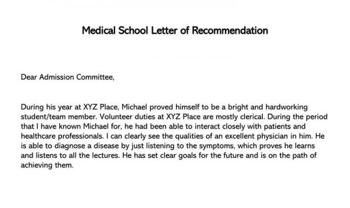 medical school letter of recommendation  sample letters