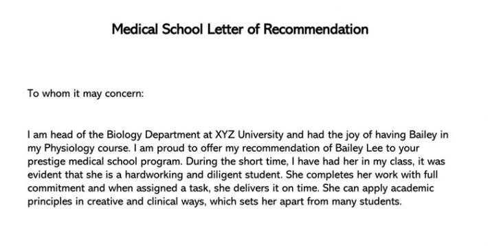 Sample letter of recommendation from doctor for medical school