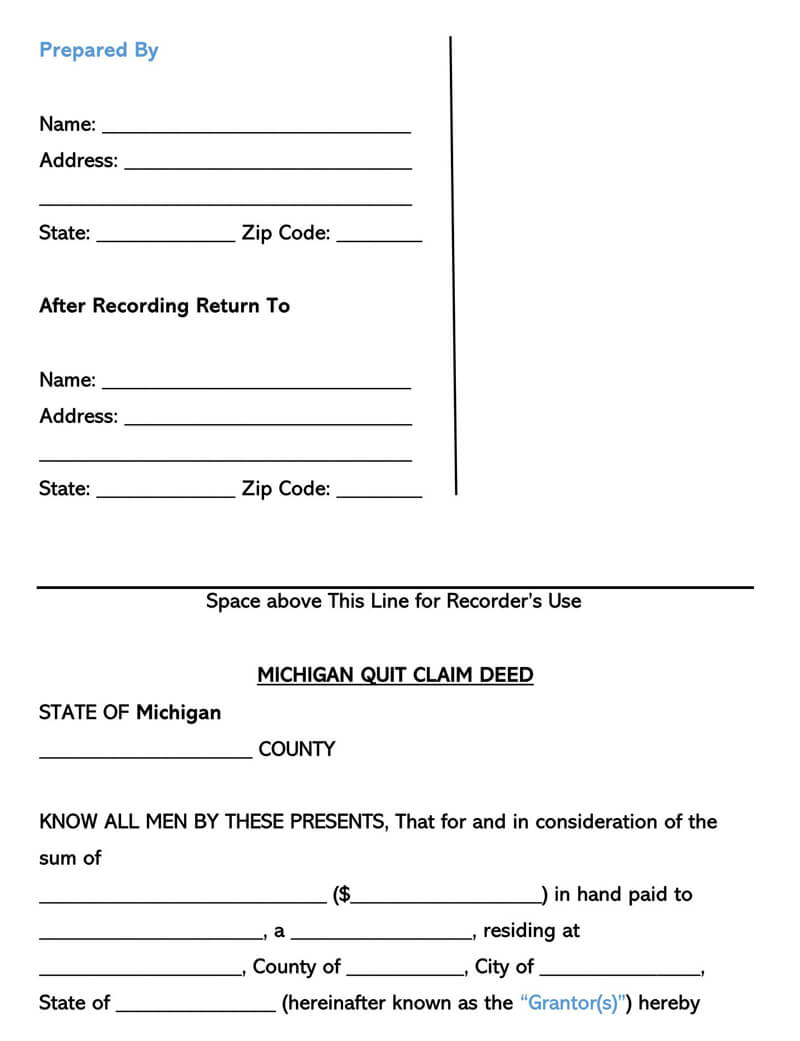 quick claim deed form for michigan  Free Quitclaim Deed Forms & Templates (by State) Word|PDF