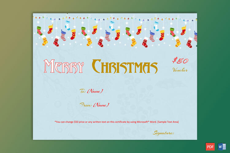 Christmas Gift Certificate Hanging Socks Themed