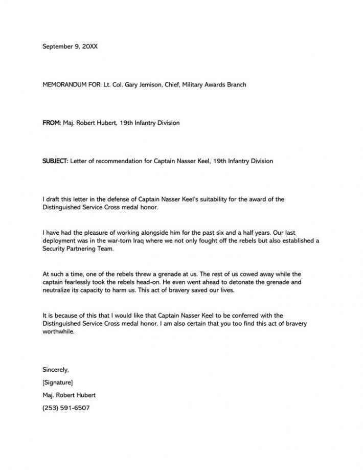 Military Letter of Recommendation (Email Example)