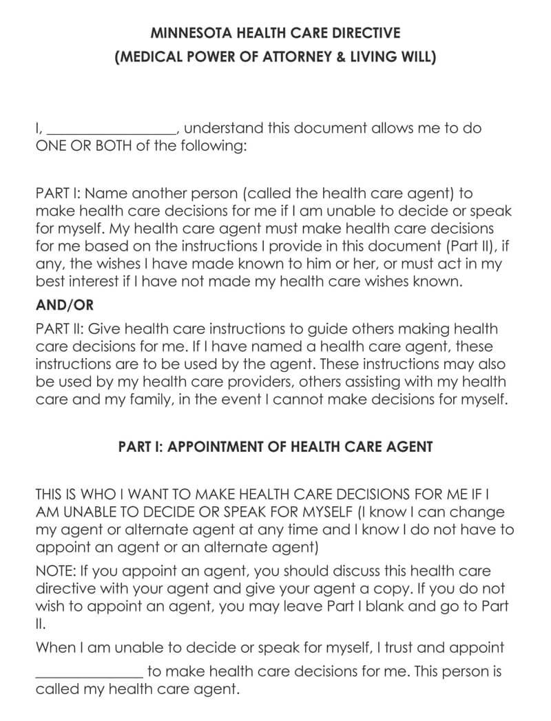 Minnesota Medical POA Form