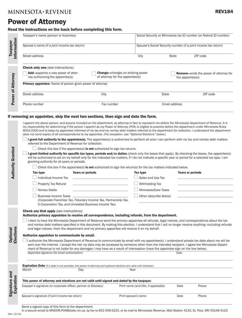 Minnesota State Tax POA (Form-rev184)