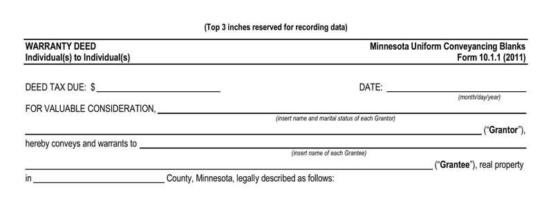 Minnesota Warranty Deed Form