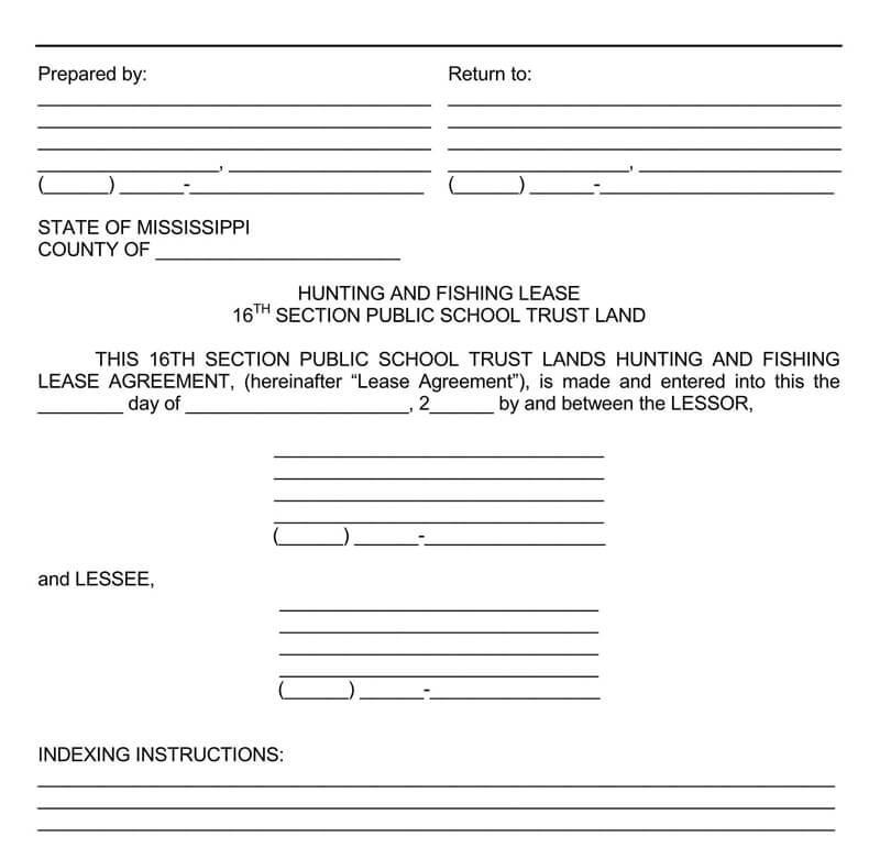Mississippi Hunting and Fishing Lease Agreement