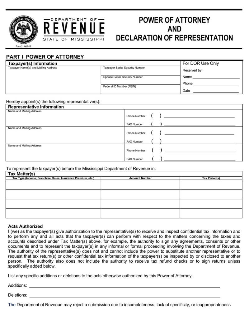 Mississippi State Tax POA (Form-21-002)