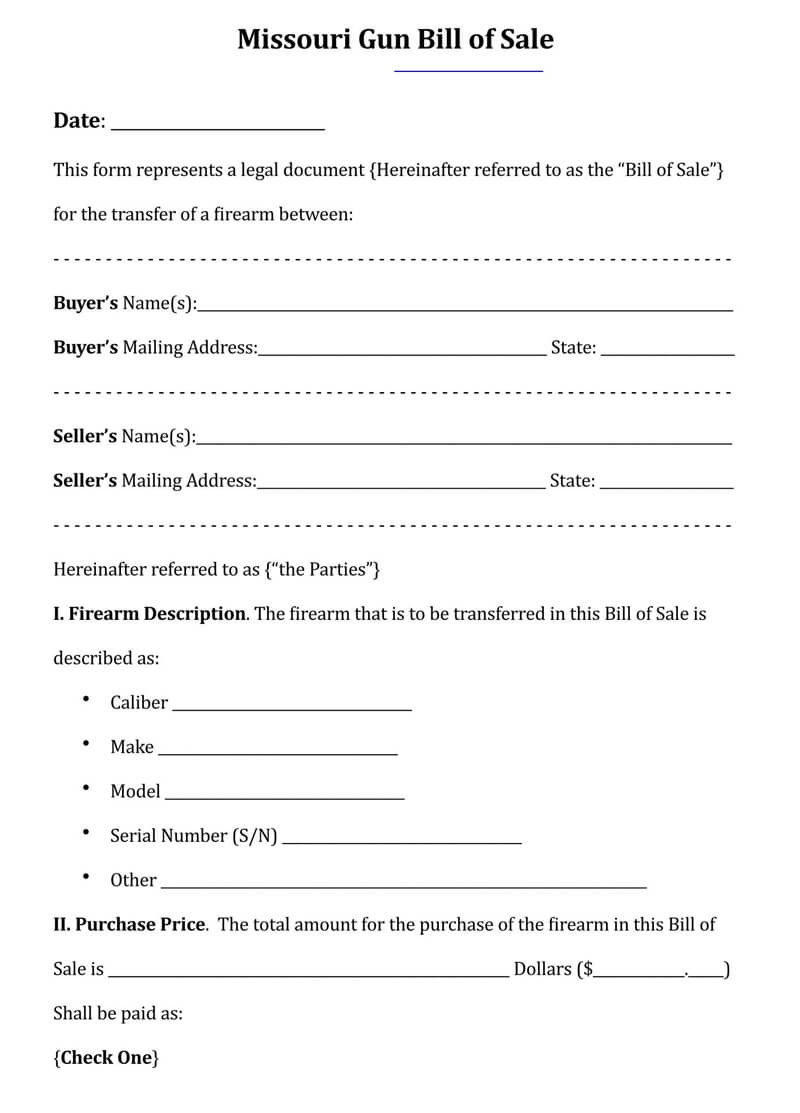 Missouri Gun Bill of Sale Form