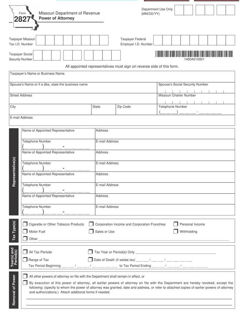 Missouri State Tax POA (Form-2827)